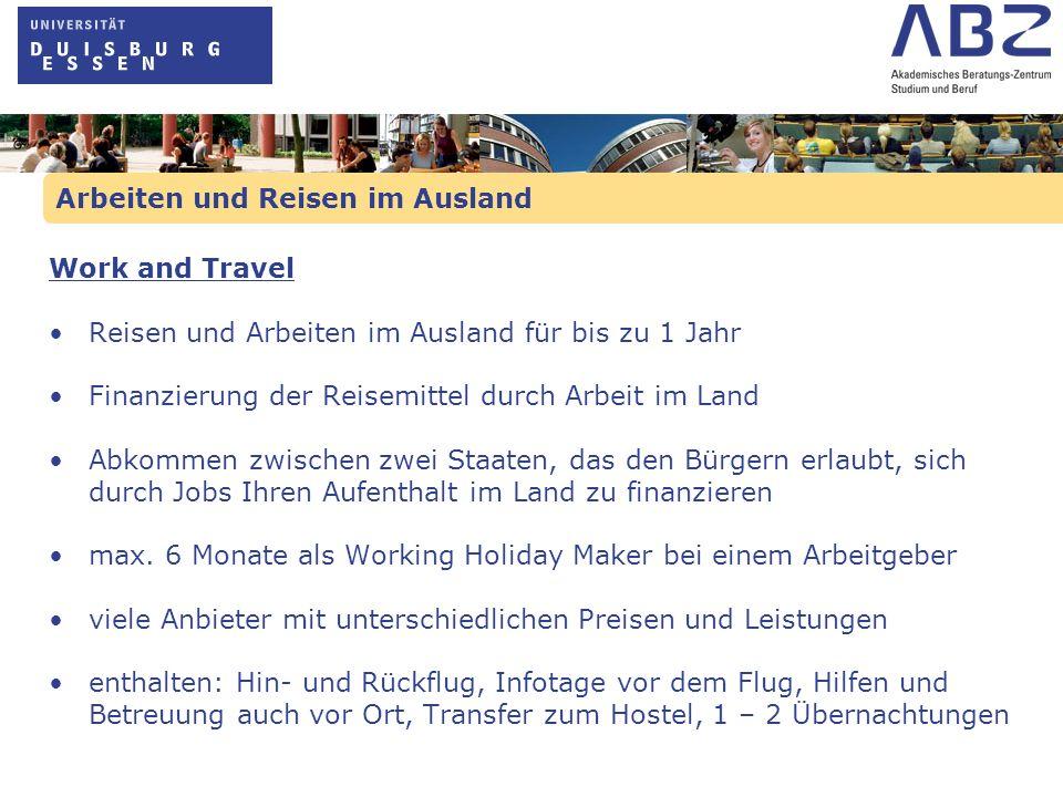 Arbeiten und Reisen im Ausland