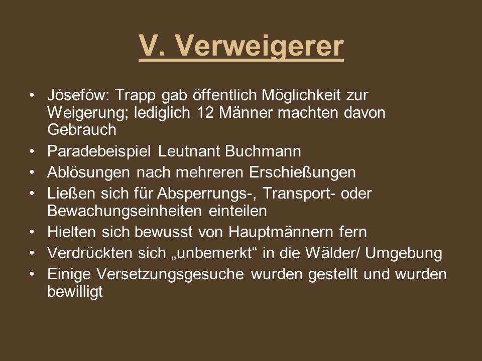 V. Verweigerer Jósefów: Trapp gab öffentlich Möglichkeit zur Weigerung; lediglich 12 Männer machten davon Gebrauch.