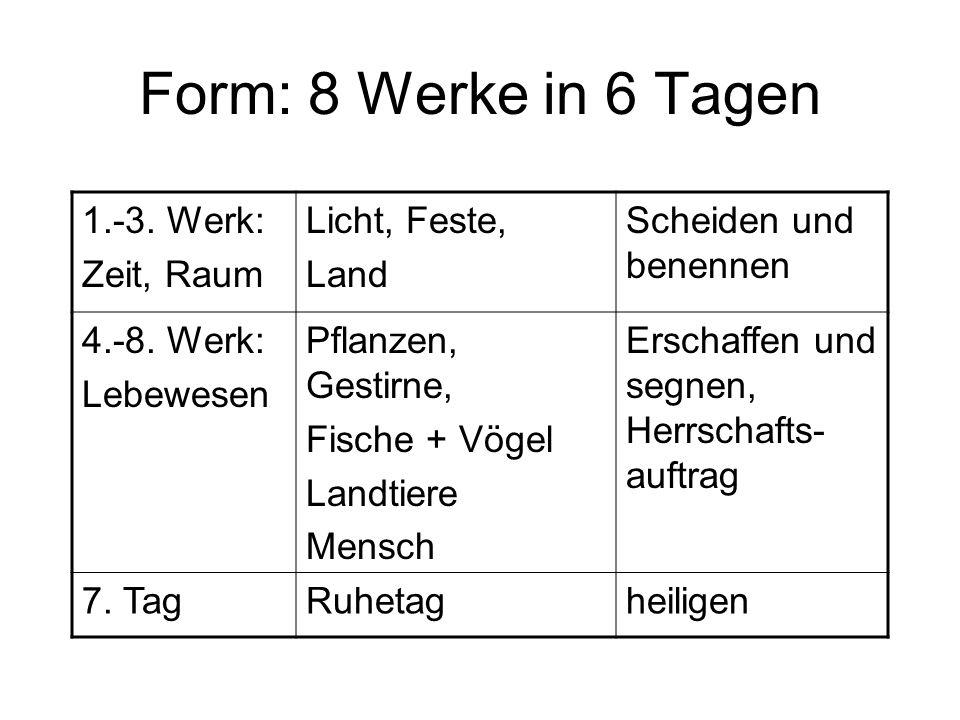 Form: 8 Werke in 6 Tagen 1.-3. Werk: Zeit, Raum Licht, Feste, Land