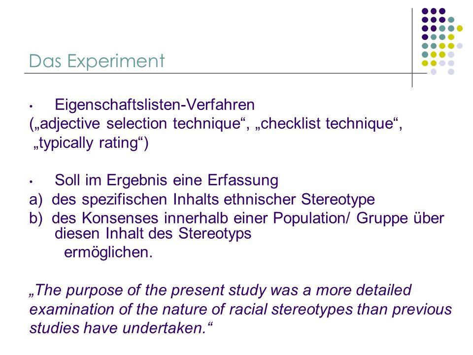 Das Experiment Eigenschaftslisten-Verfahren