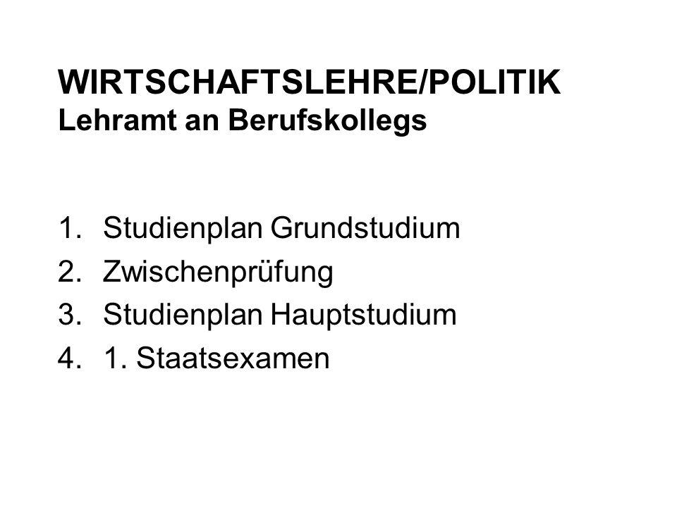 WIRTSCHAFTSLEHRE/POLITIK Lehramt an Berufskollegs