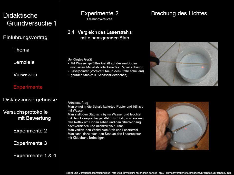 Didaktische Grundversuche 1 Experimente 2 Brechung des Lichtes