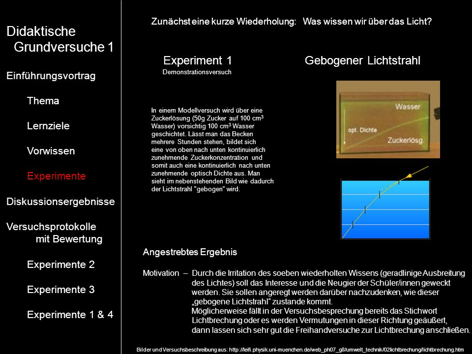 Didaktische Grundversuche 1 Experiment 1 Gebogener Lichtstrahl