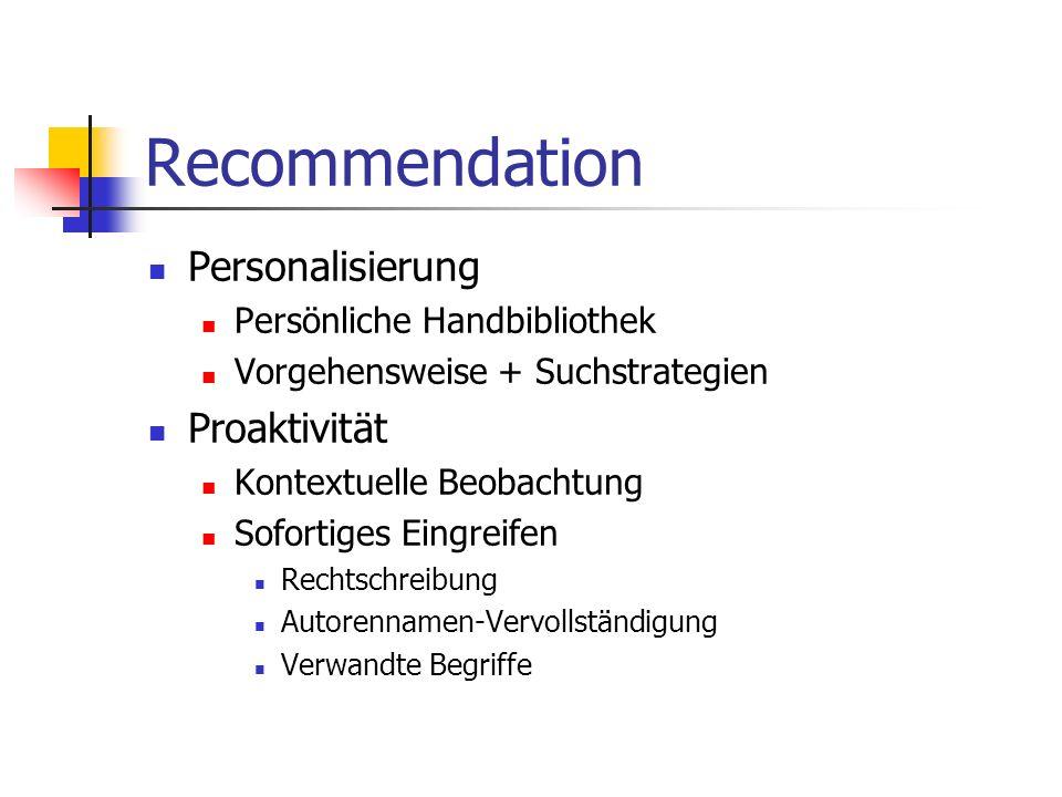 Recommendation Personalisierung Proaktivität