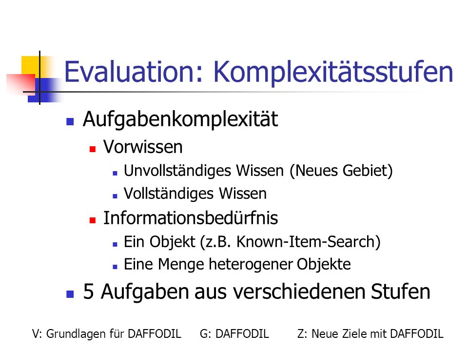 Evaluation: Komplexitätsstufen