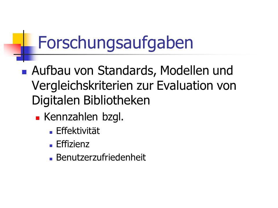 Forschungsaufgaben Aufbau von Standards, Modellen und Vergleichskriterien zur Evaluation von Digitalen Bibliotheken.