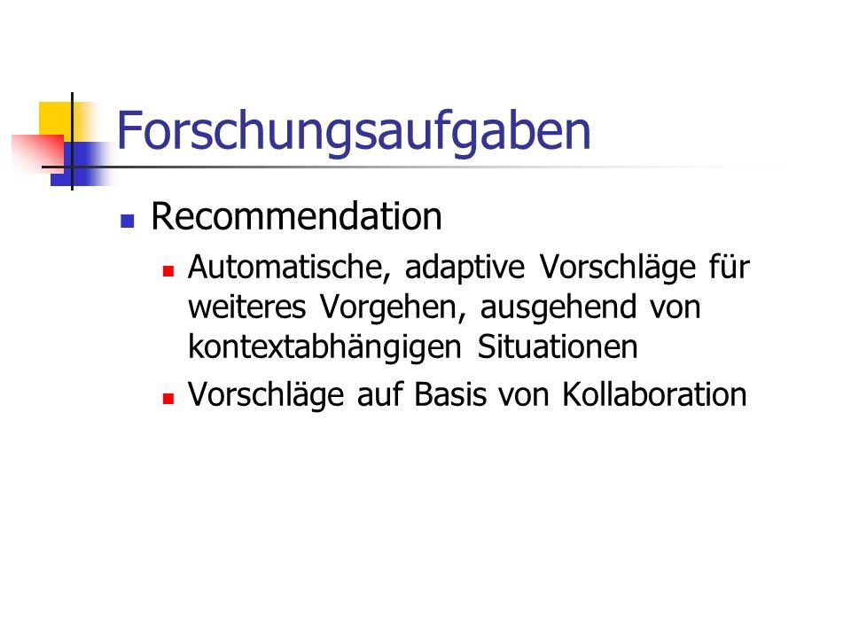 Forschungsaufgaben Recommendation