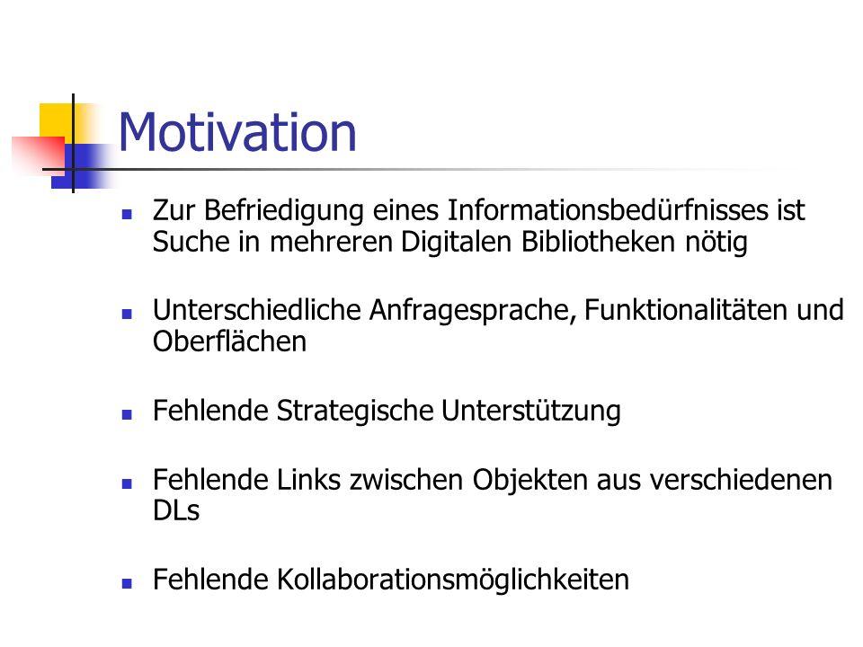 Motivation Zur Befriedigung eines Informationsbedürfnisses ist Suche in mehreren Digitalen Bibliotheken nötig.