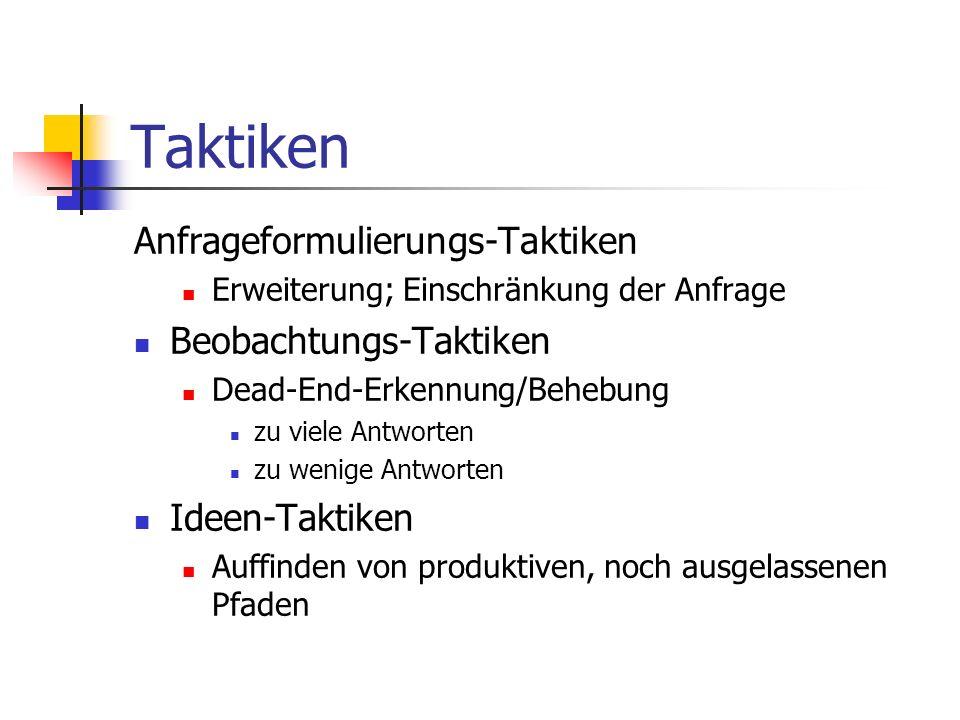 Taktiken Anfrageformulierungs-Taktiken Beobachtungs-Taktiken