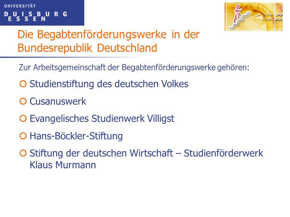 Die Begabtenförderungswerke in der Bundesrepublik Deutschland