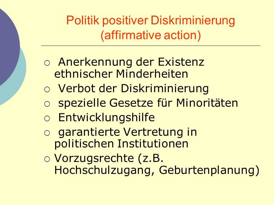 Politik positiver Diskriminierung (affirmative action)