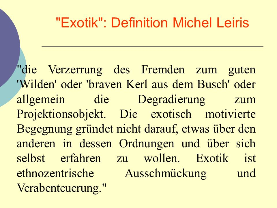 Exotik : Definition Michel Leiris