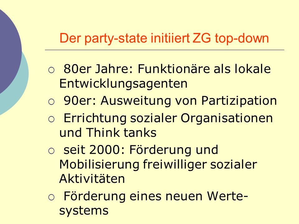 Der party-state initiiert ZG top-down