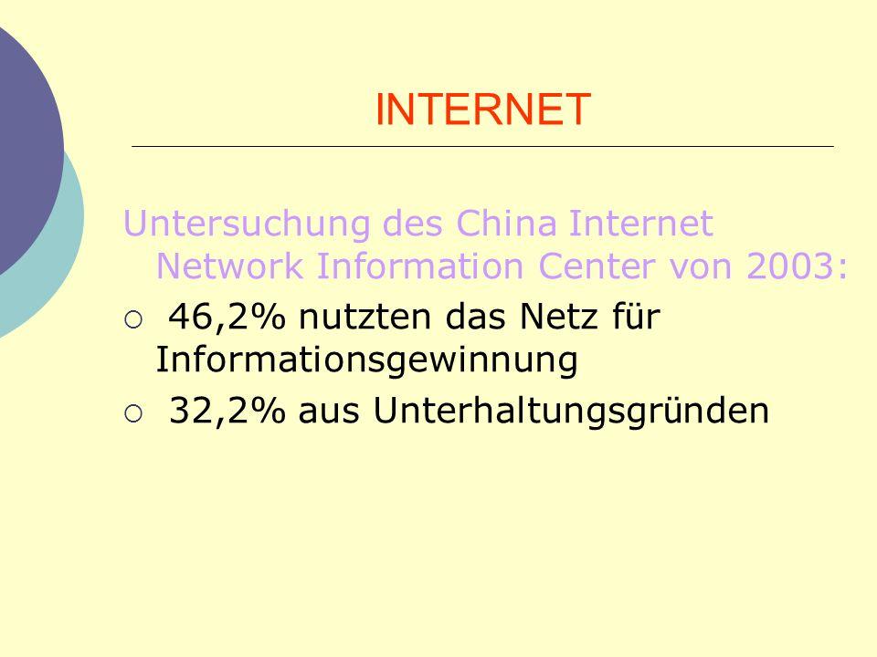 INTERNET Untersuchung des China Internet Network Information Center von 2003: 46,2% nutzten das Netz für Informationsgewinnung.