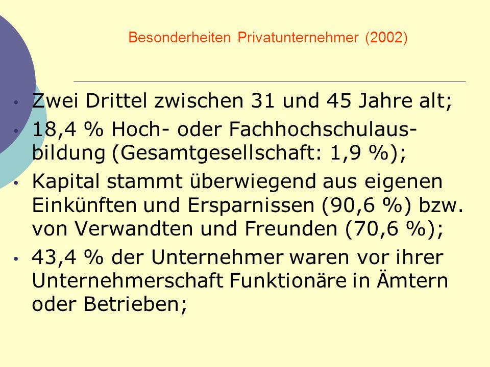 Besonderheiten Privatunternehmer (2002)