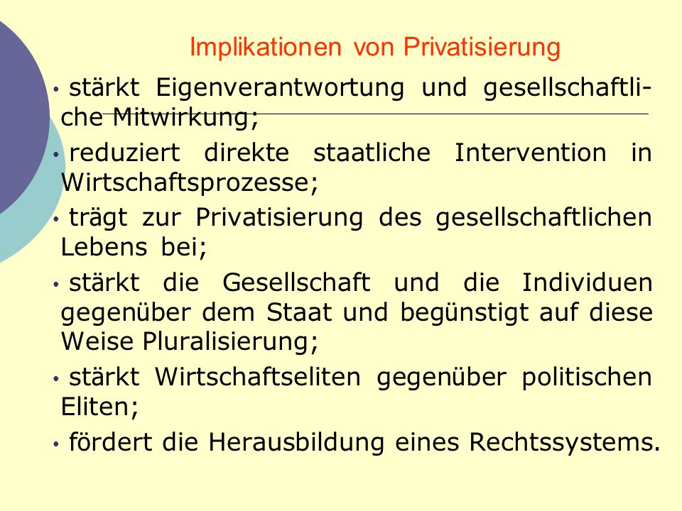 Implikationen von Privatisierung