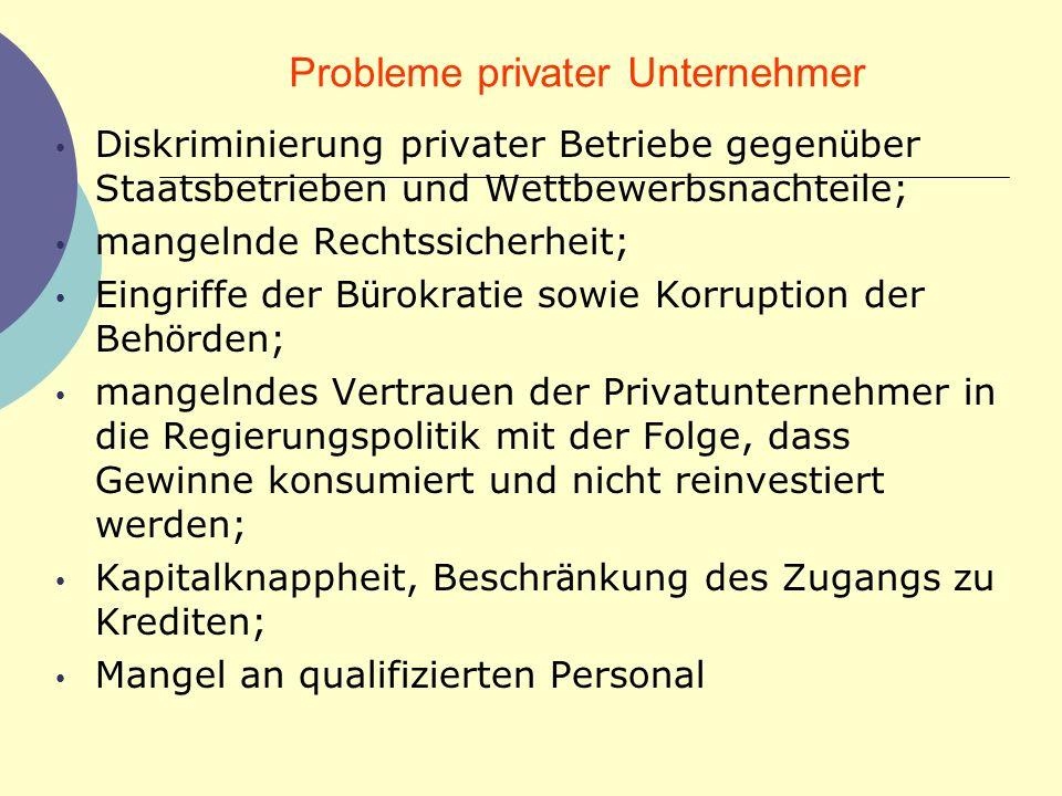 Probleme privater Unternehmer