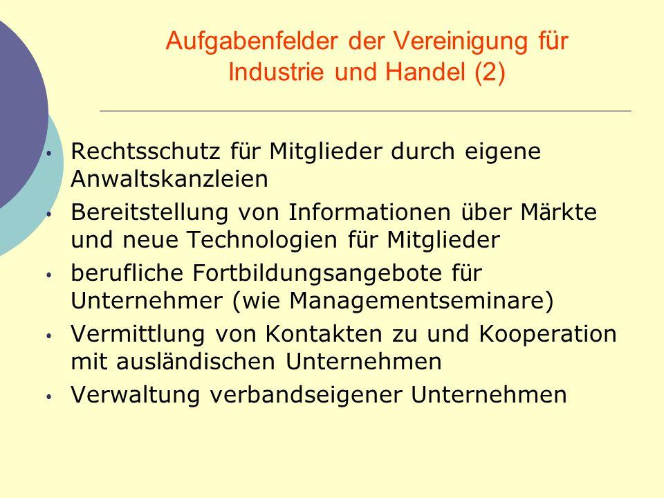 Aufgabenfelder der Vereinigung für Industrie und Handel (2)