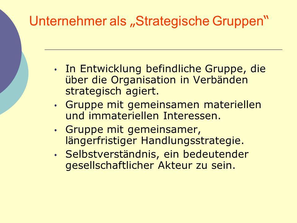"""Unternehmer als """"Strategische Gruppen"""