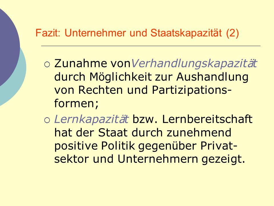 Fazit: Unternehmer und Staatskapazität (2)