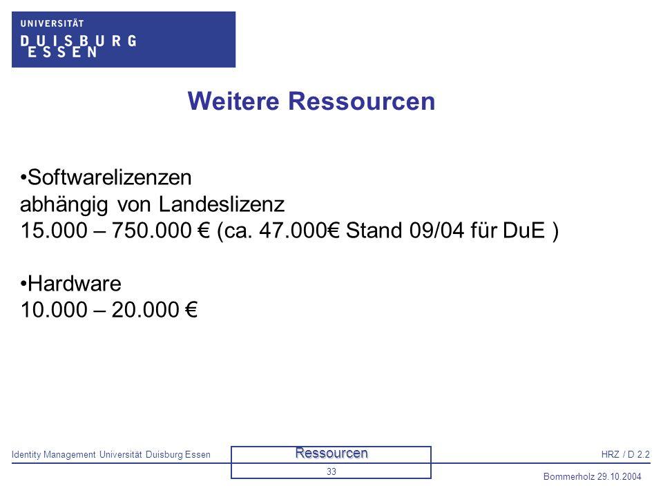 Weitere Ressourcen Softwarelizenzen abhängig von Landeslizenz 15.000 – 750.000 € (ca. 47.000€ Stand 09/04 für DuE )