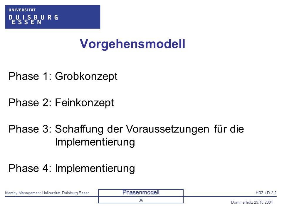 Vorgehensmodell Phase 1: Grobkonzept Phase 2: Feinkonzept