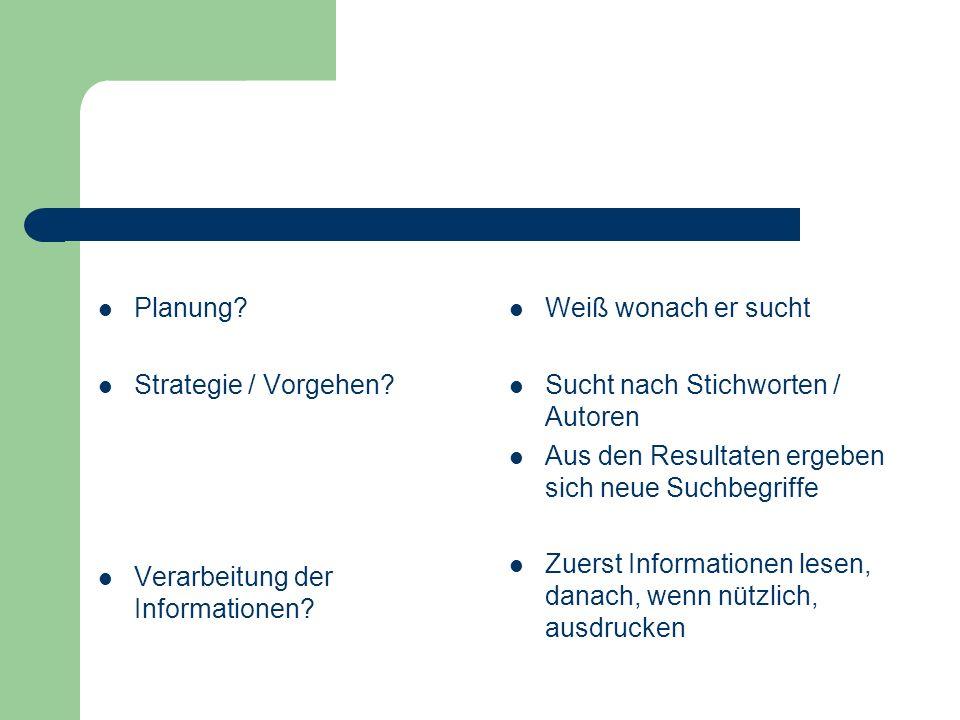 Planung Strategie / Vorgehen Verarbeitung der Informationen Weiß wonach er sucht. Sucht nach Stichworten / Autoren.