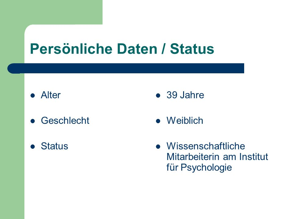 Persönliche Daten / Status