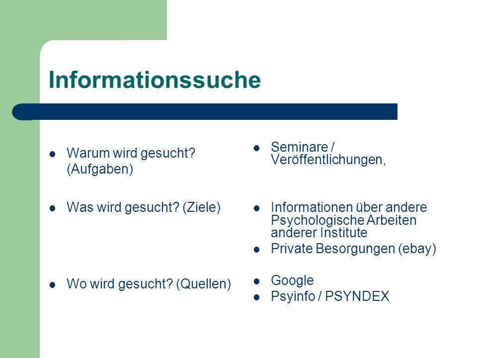 Informationssuche Warum wird gesucht (Aufgaben)