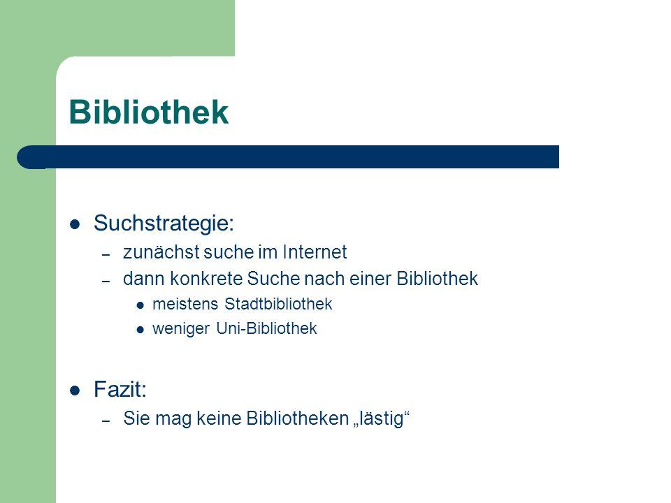 Bibliothek Suchstrategie: Fazit: zunächst suche im Internet