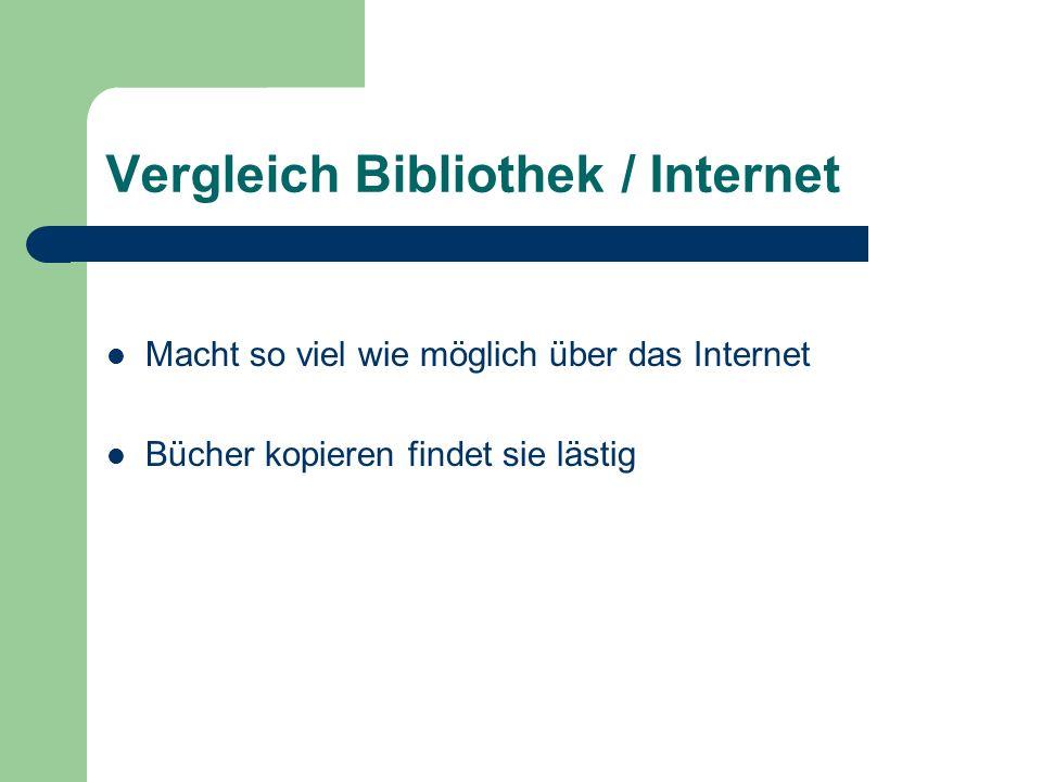 Vergleich Bibliothek / Internet