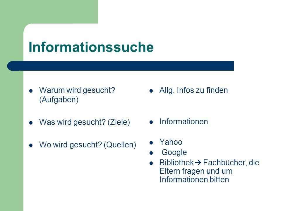 Informationssuche Warum wird gesucht (Aufgaben) Allg. Infos zu finden