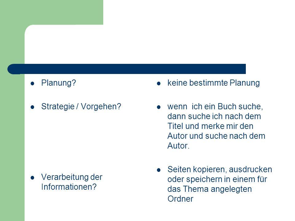 Planung Strategie / Vorgehen Verarbeitung der Informationen keine bestimmte Planung.