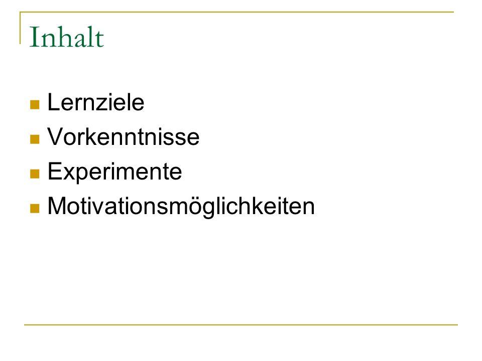 Inhalt Lernziele Vorkenntnisse Experimente Motivationsmöglichkeiten