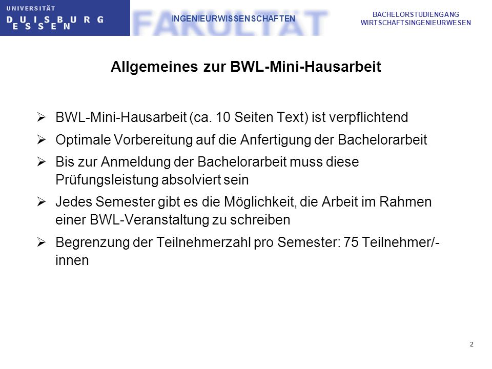 Allgemeines zur BWL-Mini-Hausarbeit