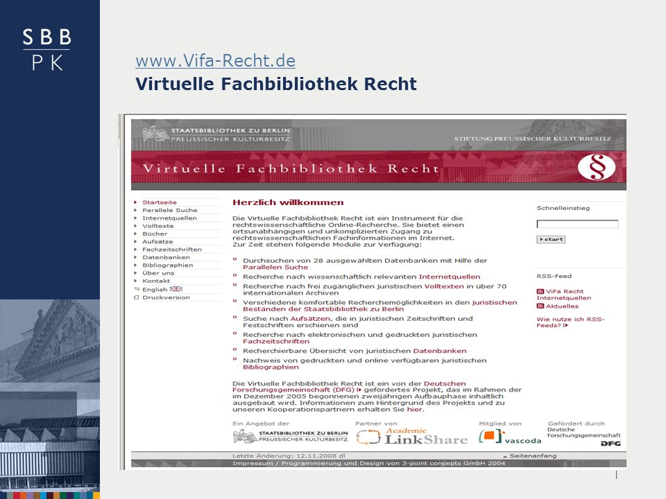 www.Vifa-Recht.de Virtuelle Fachbibliothek Recht