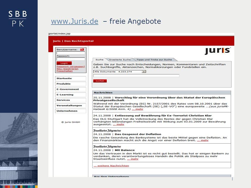 www.Juris.de – freie Angebote