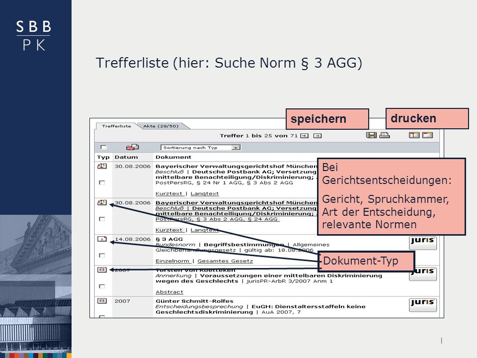 Trefferliste (hier: Suche Norm § 3 AGG)