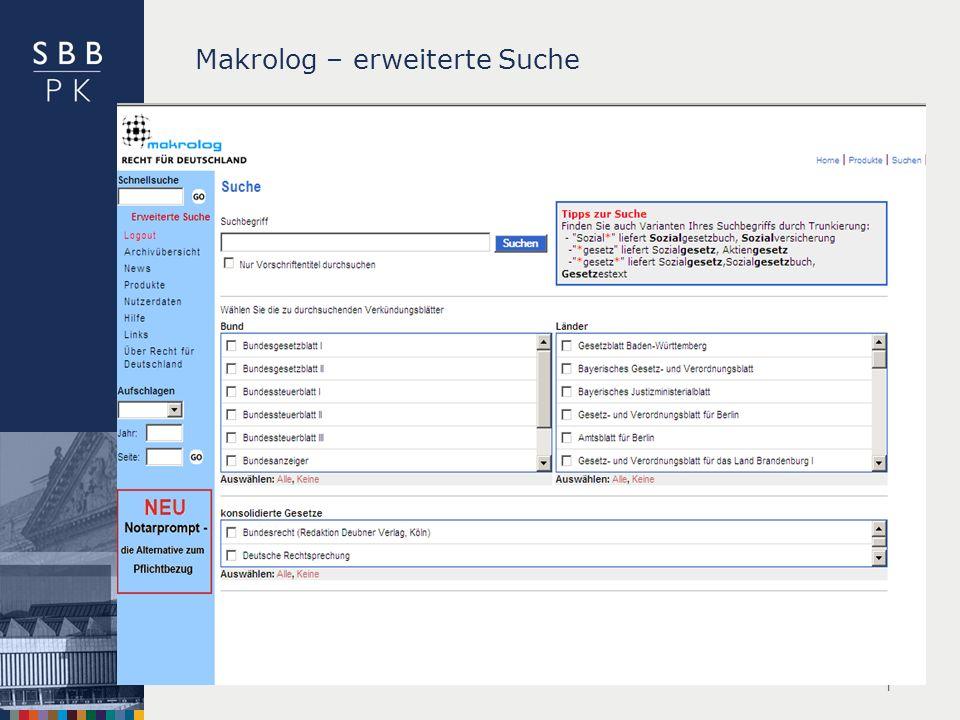 Makrolog – erweiterte Suche