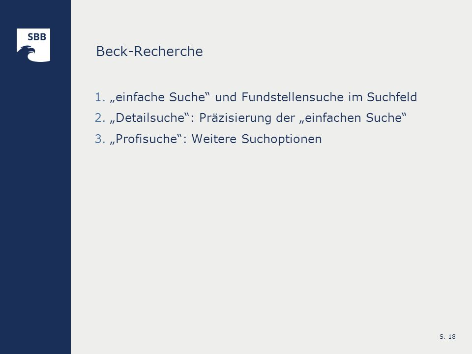 """Beck-Recherche """"einfache Suche und Fundstellensuche im Suchfeld"""