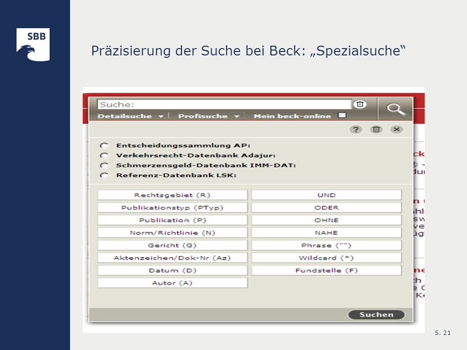 """Präzisierung der Suche bei Beck: """"Spezialsuche"""