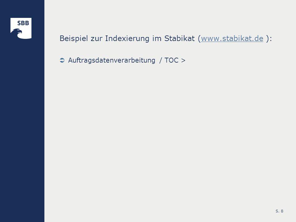 Beispiel zur Indexierung im Stabikat (www.stabikat.de ):