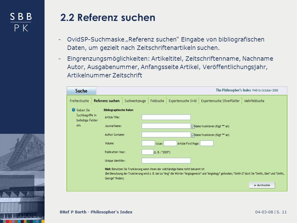"""2.2 Referenz suchen OvidSP-Suchmaske """"Referenz suchen Eingabe von bibliografischen Daten, um gezielt nach Zeitschriftenartikeln suchen."""