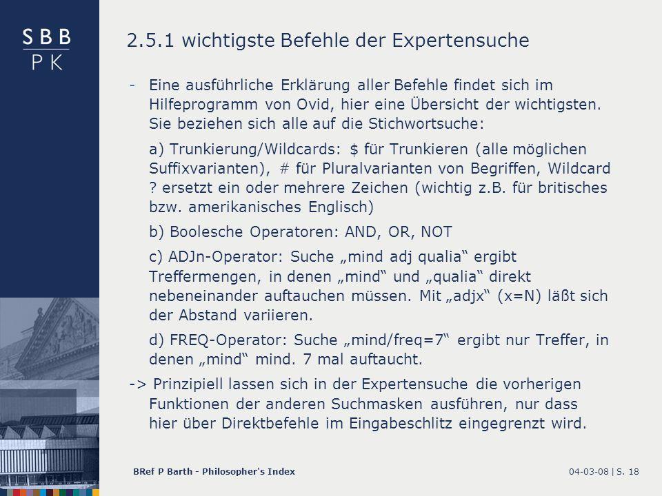 2.5.1 wichtigste Befehle der Expertensuche