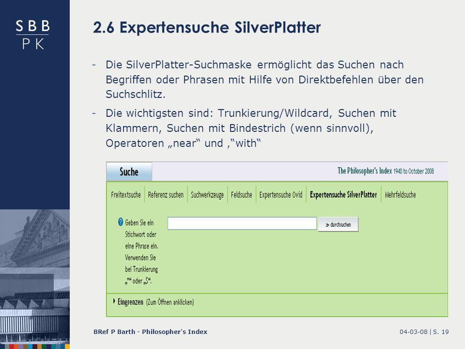 2.6 Expertensuche SilverPlatter