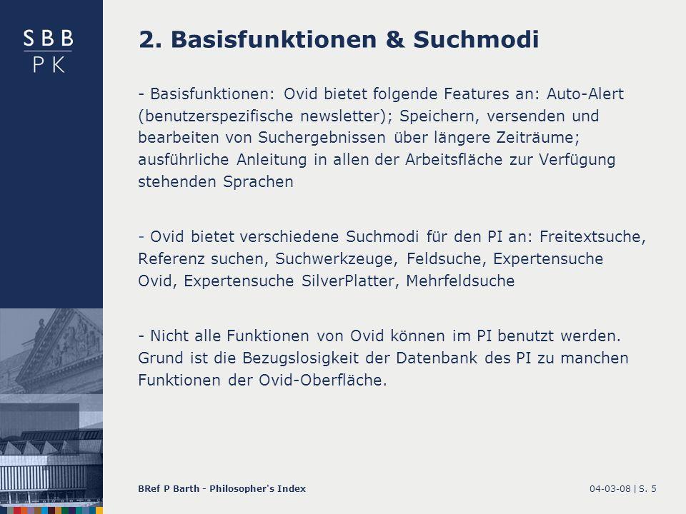 2. Basisfunktionen & Suchmodi
