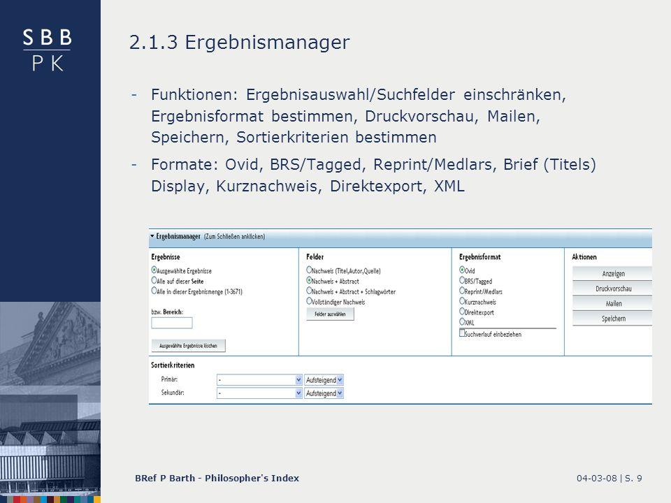 2.1.3 Ergebnismanager