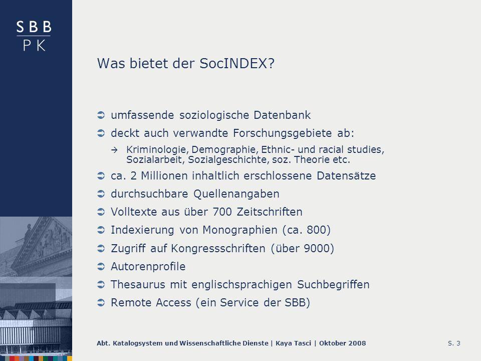 Was bietet der SocINDEX