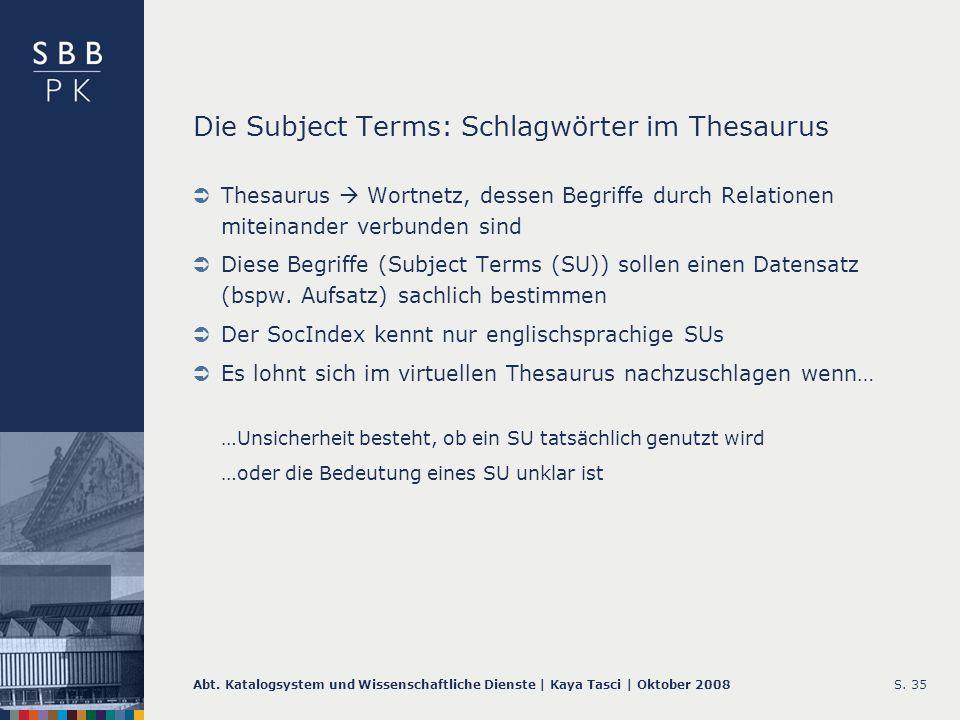 Die Subject Terms: Schlagwörter im Thesaurus