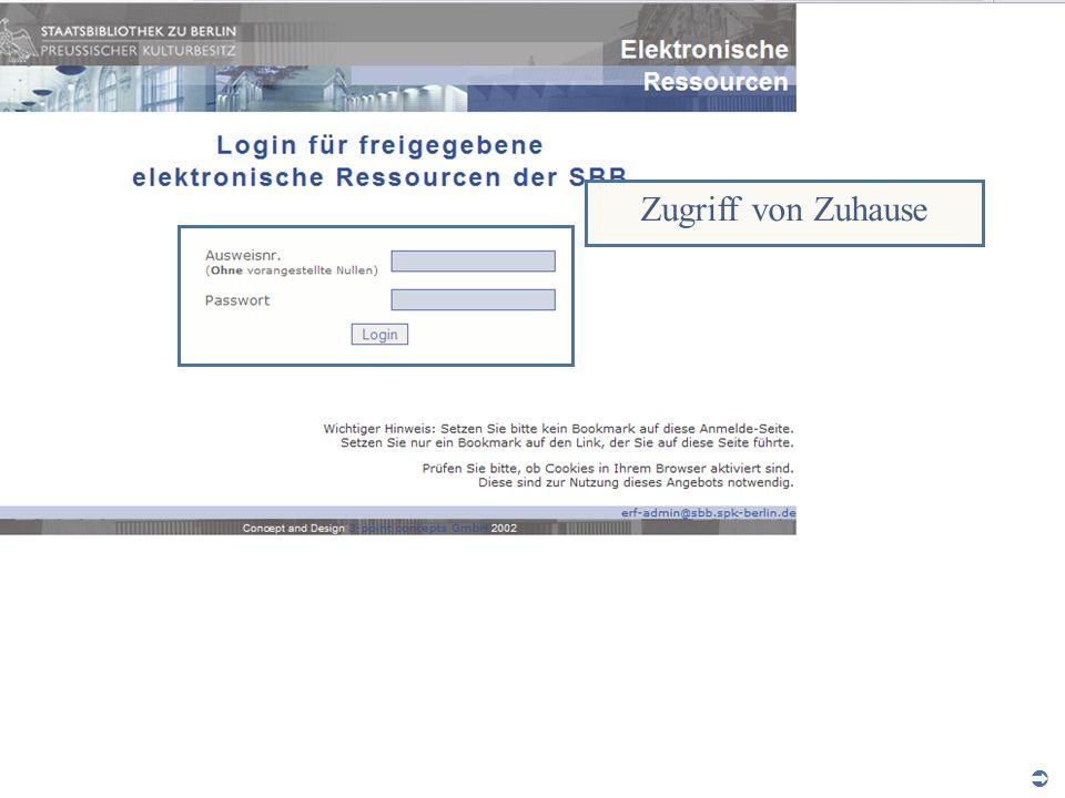 Zugriff von Zuhause Abt. Katalogsystem und Wissenschaftliche Dienste | Kaya Tasci | Oktober 2008 